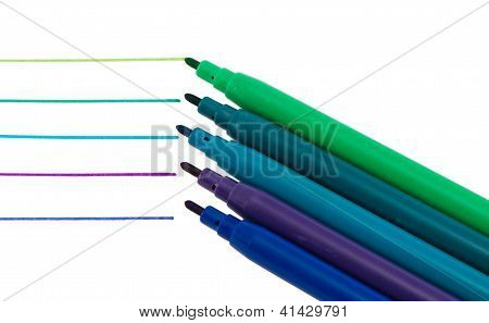 Various Color Felt-tip Pen Paint Line Isolated