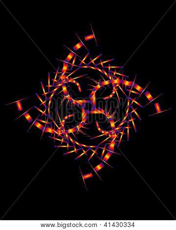 Aimless-color Abstract Composition With A Neon Geometrica Figures On A Black Background.