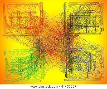 Aimless-color Abstract Composition With A Colored Strokes On A Yellow Background.