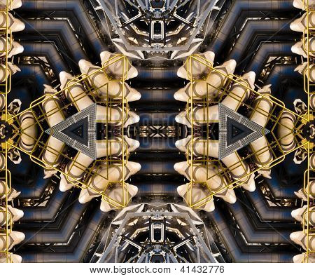 Kaleidoscopic metal pipe assembly techno pattern