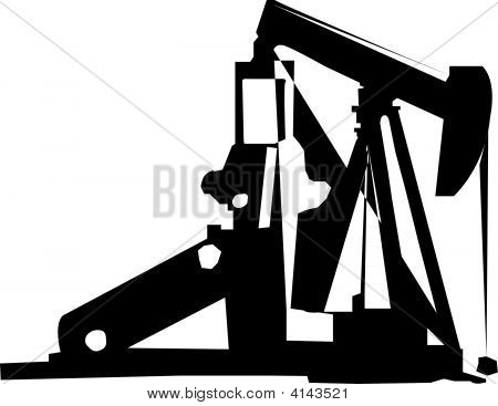 Oil Well Pump Silhouette Vector