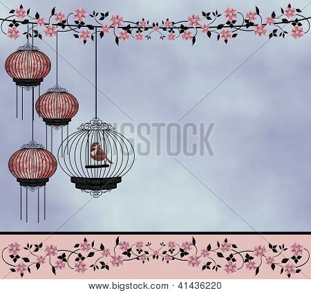 Bird in a cage 'Pink'