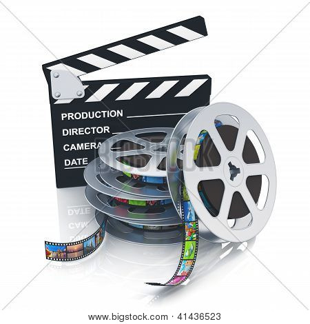 Clapper board and reels with filmstrips