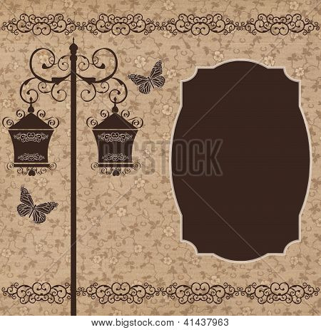 Two street lamps and butterflies