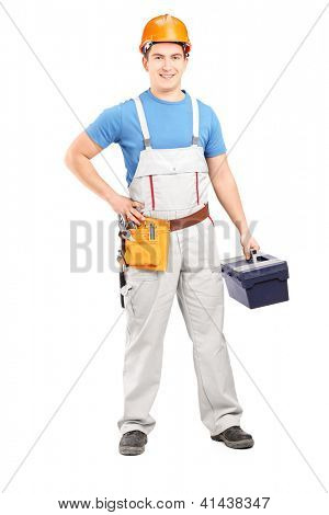 Full length portrait of a manual worker holding a tool box isolated on white background