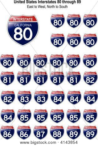 United States Interstates 80 Through 89