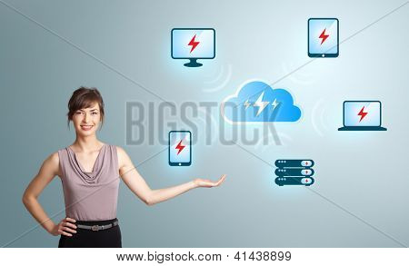 Beautiful young woman presenting cloud computing network