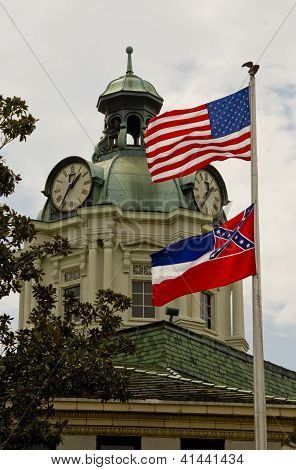 Courthouse Clock Tower & Flags