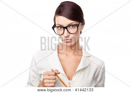 Strict business woman, isolated on white background