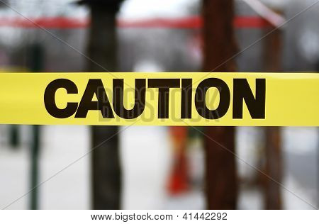 Caution sign tape concept of warning and danger