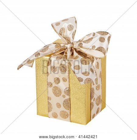 Golden gift wrapped present isolated