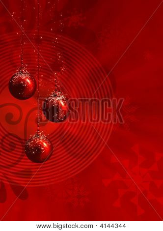Red Christmas Illustration With Balls