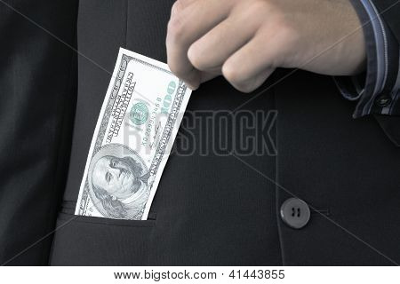 Hand holding 100 dollars