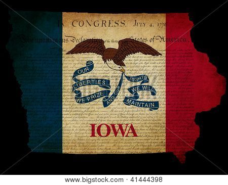 Usa American Iowa State Map Outline With Grunge Effect Flag And Declaration Of Independence Overlay