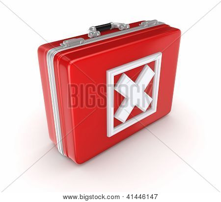 White cross mark on a red suitcase.