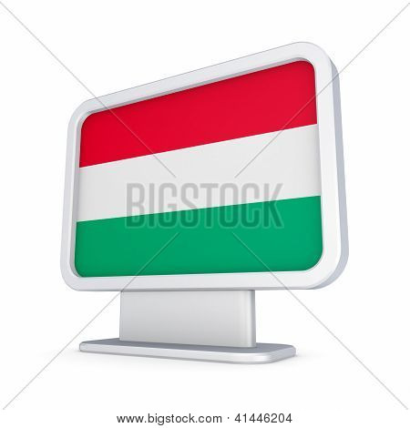 Hungarian flag in a lightbox.