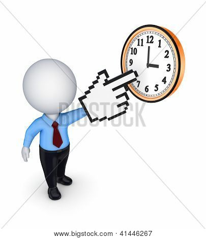 Small person pointing to clock.