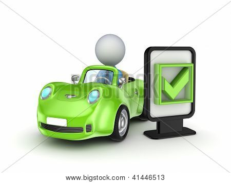 Green car and lightbox with a tick mark.