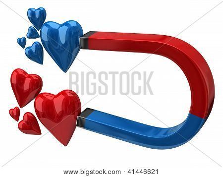 Horseshoe magnet attracting hearts