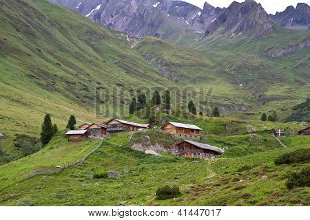 Typical mountain huts in South Tyrol, Italy