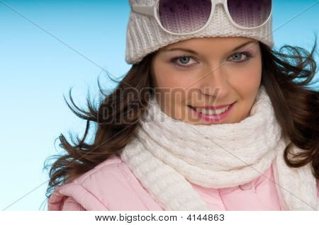 Winter Portrait Of Sexy Fashion Model In Pink