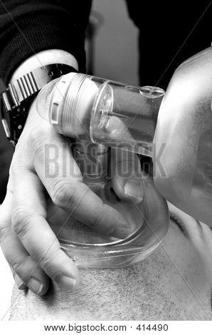 Providing Artificial Ventilation With Bvm (bag-valve-mask) B&w