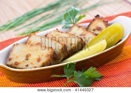 Sliced potato rissole