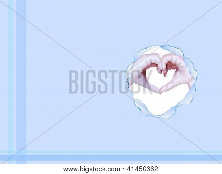 Two Hands Make Heart Shape on Blue Background