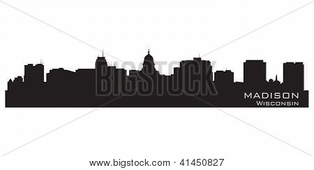 Madison, Wisconsin Skyline. Detailed City Silhouette.