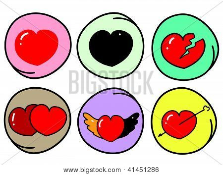 Set Of Different Heart Symbols On Round Background