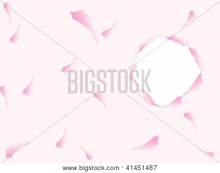 A Circle Torn Paper On Pink Background