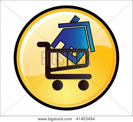 Buy House Button - A Glossy Yellow Button With A House On A Shopping Trolley