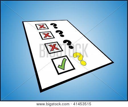 Una lista de signos de interrogación con la casilla bien y el mal contra ellos