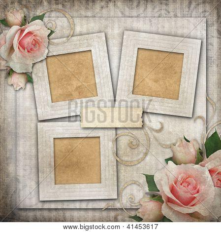 Grunge hintergrund mit Frames und Rosen