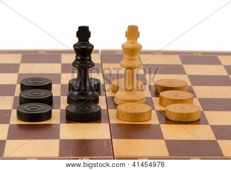 Enemy Chess Queen Surround Checkers Board Isolated