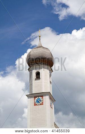 Historic Bavarian church steeple near lake Tegernsee