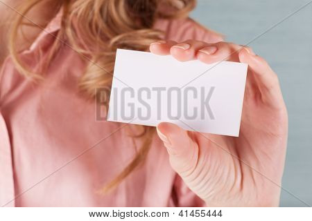 Business Woman Holding Her Visiting Card