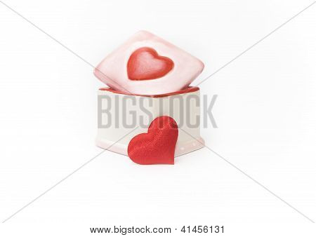 Porcelain Box And Red Heard Valentine's Day Gift