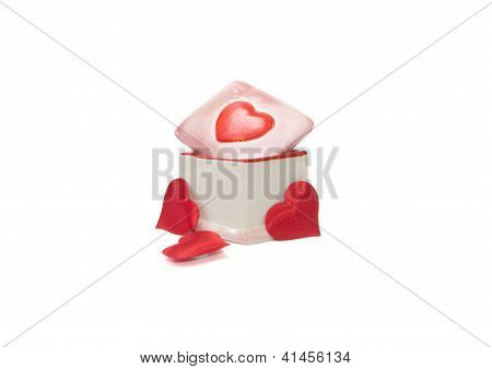 Porcelain Box And Three Red Heards Valentine's Day Gift