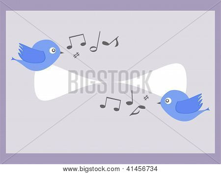 Cartoon Blue Birds Sing. Baby Boy Invitation Card