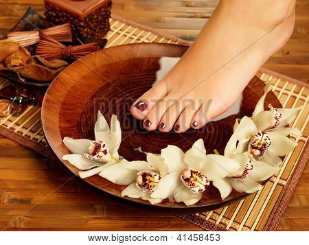 Female Foot At Spa Salon On Pedicure Procedure