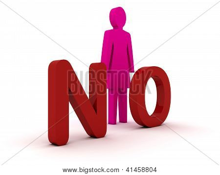 Female figure standing near to an no icon. Concept 3D illustration