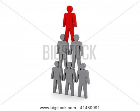 Human pyramid. Team hierarchy. Company boss. Concept 3D illustration