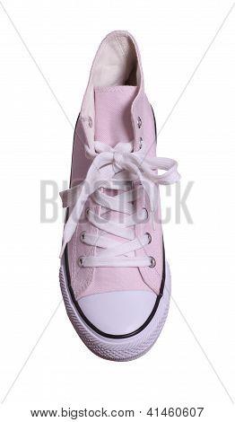 Topview de zapatillas rosa