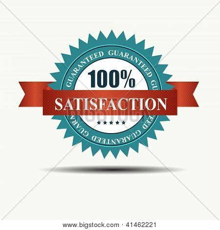 Vector 100% satisfaction guaranteed retro  label with red ribbon