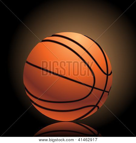 Basketball On Dark Background With Dramatic Light