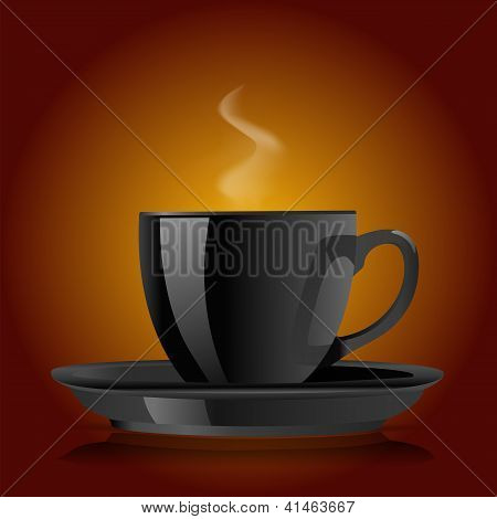 Black Coffee Cup On Brown Background