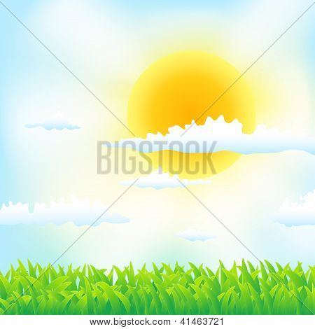 Spring Background With Grass,sun And Clouds
