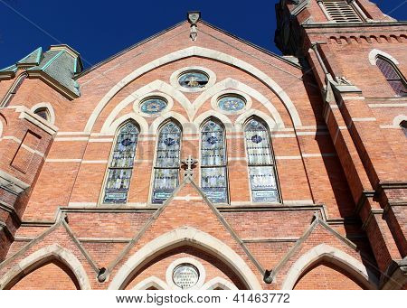 Beautiful detail of brick and stone church
