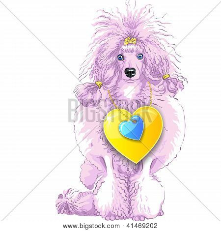 Vector Pink Poodle Dog With Gold Heart